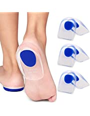 3 Pair Gel Heel Cups Plantar Fasciitis Inserts - Silicone Gel Heel Pads for Heel Pain, Bone Spur & Achilles Pain, Gel Heel Cushions and Cups, Pad & Shock Absorbing Support (Blue, Small/Medium)
