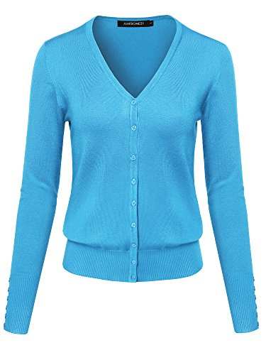 Basic Solid V-Neck Button Closure Long Sleeves Sweater Cardigan Sky Blue M -