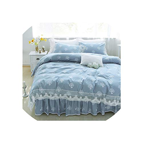 Summer Pink Flowers White Bedding Sets Queen King Double Twin Size Egyptian Cotton Bed Skirt Duvet Cover Sheet Pillow Cases,Style6,Full 4Pcs