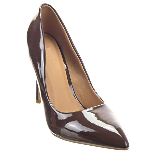 Sopily - damen Mode Schuhe Pumpe Dekollete Stiletto glänzende - Braun