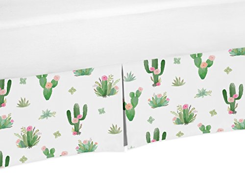 Floral Bedskirt Twin (Sweet Jojo Designs Pink and Green Boho Watercolor Pleated Twin Bed Skirt Dust Ruffle for Cactus Floral Bedding Collection Sets)