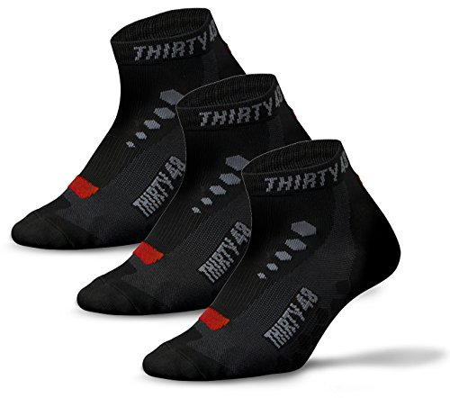 Price comparison product image Thirty48 Low Cut Cycling Socks for Men and Women | Black/Red 3-Pack - XL