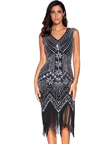 Meilun 1920s Sequined Vintage Dress Beaded Gatsby Flapper Evening Dress Prom,Black,Medium