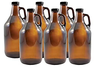 Strange Brew Home-Brew 1/2 gallon Amber Growlers (Case of 6) with Polyseal Caps