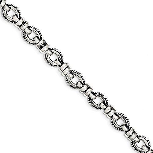 Sterling Silver Polished Toggle Closure Antiqued Fancy Link Bracelet - 7.5 Inch - Toggle