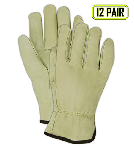 Drivers Straight Thumb - Magid B6540E Roadmaster Cow Grain Leather Driver Glove with Straight Thumb, Work, XL, Tan (12 Pairs)