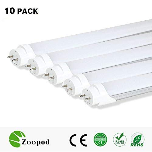 zoopod T8 LED Tube Lamp, 6500K Cool White, 3000K Warm White, Frosted Milky Cover (10Pcs, 3000~3500K) 4ft 18W (32w fluorescent replacement) 25-pack 10-pack