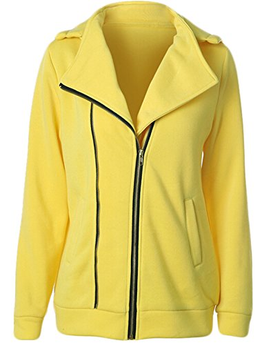 Fashion Full Zip Sweatshirt (GAGA Women's casual Autumn Fashion Full Zip Hooded Sweatshirt Yellow)
