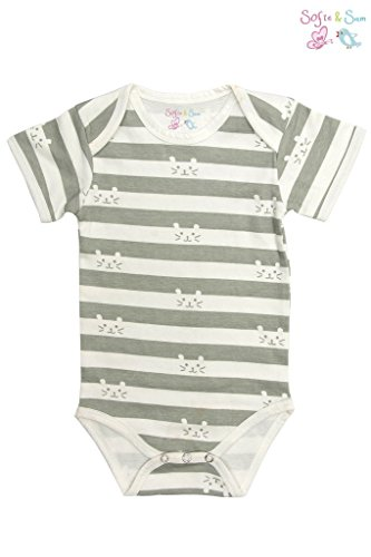 Sofie & Sam London, Baby Bodysuit Romper Onesie made from Organic Cotton, Cat Stripes