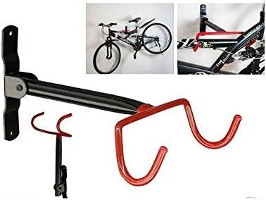 livivo - Soporte plegable de almacenamiento de bicicletas para pared con doble gancho y tornillos de montaje, color negro y rojo: Amazon.es: Hogar