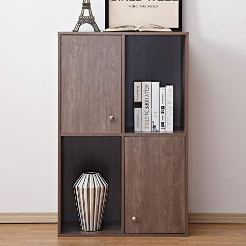 Oak Storage Bookcase Cabinet - Soges Wooden Storage Organizer Cabinet with Doors, Freestanding Storage Unit/Bookcase/ Bookshelf, Display Shelf, Salt Oak HHGZ001-GO