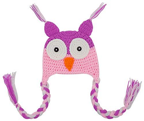 Bienvenu Baby Girls Cute Crochet Knit Woolly Cap Infant Toddler Earflap Lined Owl Beanie Hat,LightPurplePink