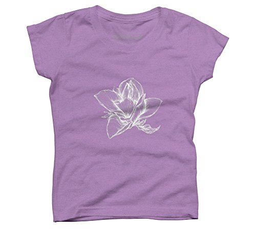 Design By Humans Magnolia flower Girl's X-Small Purple Berry Youth Graphic T Shirt