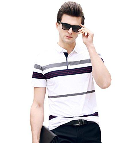 PuHao (プハオ) メンズ ポロシャツ 半袖 夏  ボーダー カジュアル スポーツウェア ゴルフウェア シンプル 通気性 薄手 吸汗 polo ファッション カッコイイ Tシャツ (ホワイト11, XL)