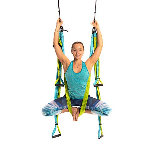 Yoga Trapeze [official] - Yoga Swing/Sling/Inversion Tool, Blue/Green by YOGABODY - with Free DVD