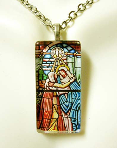 The visitation of Mary stained glass window pendant - GP12-447