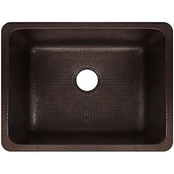 antica 23 copper undermount kitchen sink single bowl premier copper products ksdb25199 25 inch hammered copper kitchen      rh   amazon com