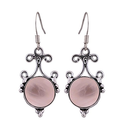 13.20ct, Genuine Rose Quartz & 925 Silver Plated Dangle Earrings Made By Sterling Silver Jewelry