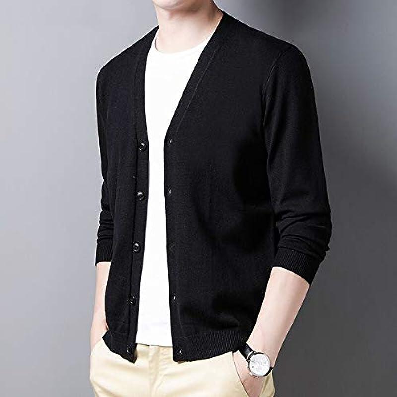 ZLDMYC sweter męski odzież jesienno-zimowa kurtka z dzianiny męska miękka ciepła bawełna kardigans Pure Color z wycięciem w kształcie V (kolor: jasnoszary, rozmiar: L): Küche &