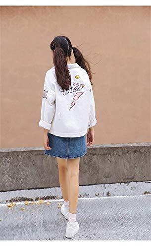 Vintage Battercake Fashion Slim Button Fit Donne Fidanzato Outerwear Cappotto Lunga Autunno Bianca Donna Manica Jeans Primaverile Elegante Con Graffiti Di Giacche Giaccone Casuale Stampato Moda rqEtqn