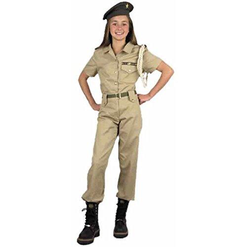 Girl's Khaki Military Costume, Size Youth Medium 8-10