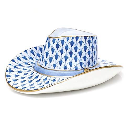 Herend Cowboy Hat Porcelain Figurine Sapphire Fishnet