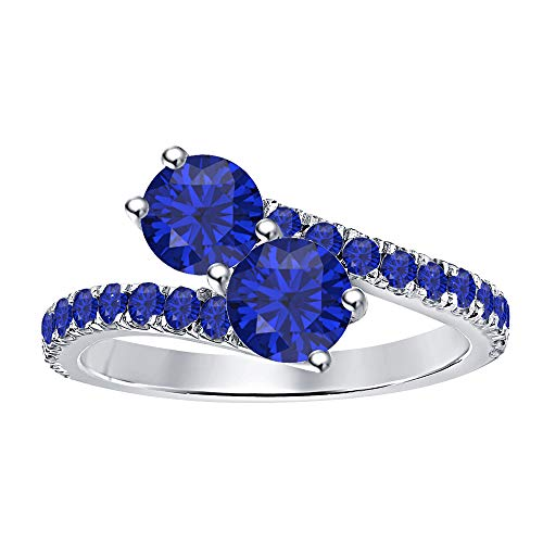 (RUDRAFASHION Women's 14K White Gold Plated Round Cut Created Blue Sapphire Two Stone Promise Ring)