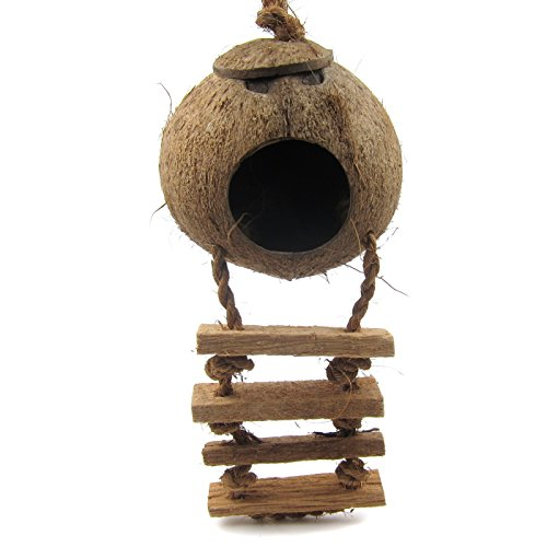 Alfie Pet by Petoga Couture - Baker Naturals Coconut Hideaway with Ladder for Birds by Alfie