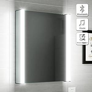 500 X 650 Illuminated LED Bathroom Mirror Cabinet Bluetooth Speaker Shaver Socket MC129