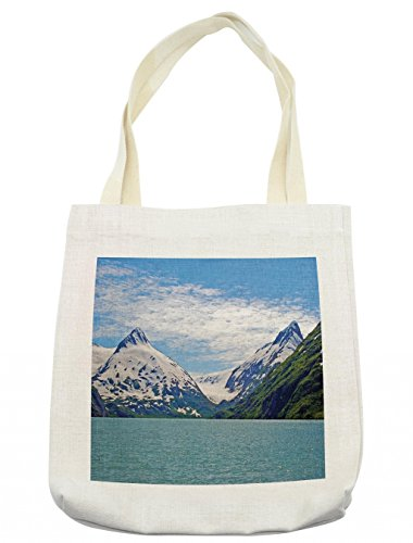 Lunarable Landscape Tote Bag, Mountain and Lake in Anchorage Alaska Springtime Sunny Day Scenic Picture, Cloth Linen Reusable Bag for Shopping Groceries Books Beach Travel & More, Cream ()