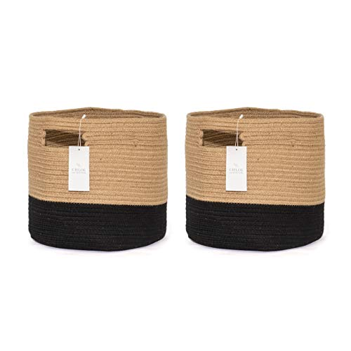 Chloe and Cotton Woven Fabric Cube Storage Baskets Jute Black with Handles | Set of 2 | Cute Decorative Bins Containers Organizers for Cubes, Shelves, Bookcases, Cubbies, Organizing Containers