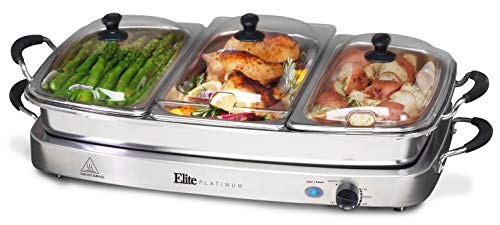 Elite Platinum EWM-9933 Deluxe Triple Buffet Server Food Warmer Party Tray, Oven-Safe Pan, Gravy & Holiday Essentials, 3 x 2.5Qt, Stainless Steel