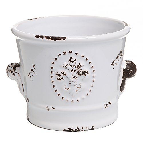 French Country Rustic White Ceramic Succulent Planter