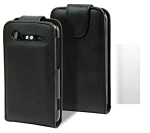 Flip Case Cover Skin And LCD Screen Protector For HTC Incredible S G12 / Black