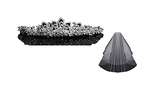 En Vogue Wedding Bundle Rhinestone Tiara T1402 & Circle-Cut Bridal Veil V603W Set