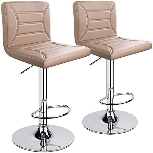 ergoseat Modern PU Leather Adjustable Swivel Barstools, Set of 2 Khaki