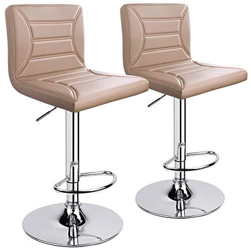 ergoseat Modern PU Leather Adjustable Swivel Barstools, Set of 2 Khaki
