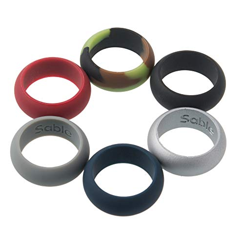 Sable Silicone Wedding Ring Set for Men 6 Pack of Silicone Rubber Rings, Non-Toxic and Safe for Athletes, Construction Workers