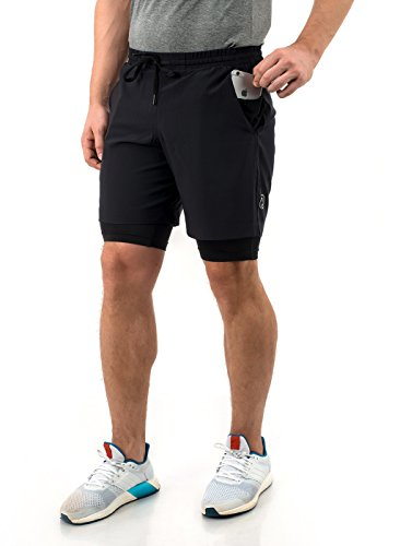 (TRUEREVO Sports Shorts with Phone Pocket for Men Double Layered)