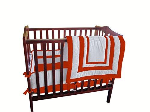 Baby Doll Bedding Modern Hotel Style Mini Crib/ Port-a-Crib Bedding Set, Orange by BabyDoll Bedding   B00NGB9YPC