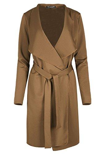 Womens Long Sleeve Waterfall Italian Blazer Ladies Oversized Belted Coat Jacket Plus Size (US 20/22) Mocha