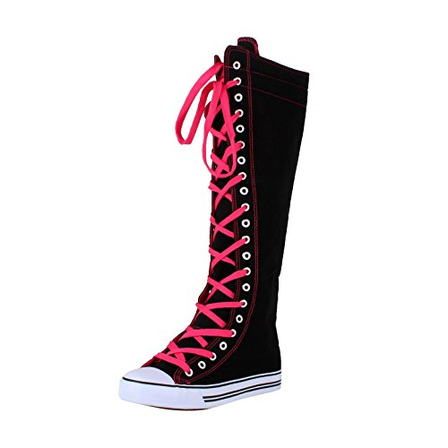 West Blvd Sneaker Boots Black Fuchsia Canvas, 10