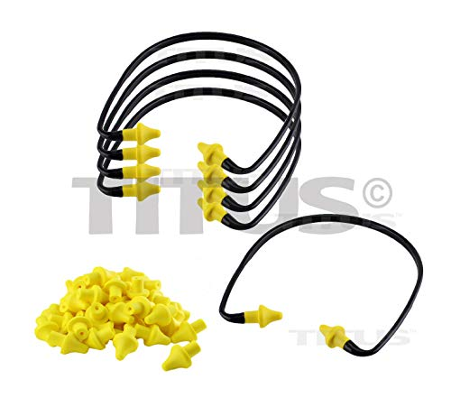 Titus U-Band - Over Ear Reuseable Banded Ear Plugs (22 Decibel, 5 Bands, 50 Replacement - Banded 200 Plugs Ear