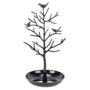 ChezMax Outdoor Antique Birds Tree Stand Jewelry Display Necklace Earring Bracelet Holder Organizer Rack Tower, 11.8 Inch