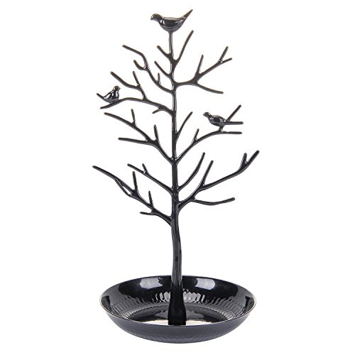 ChezMax Antique Birds Tree Stand Jewelry Display Necklace Earring Bracelet Holder Organizer Rack Tower, Black, 11.8 Inch