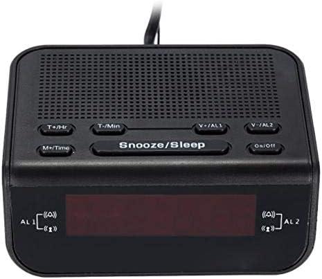 REFURBISHHOUSE Radio-R/éVeil vec Minuterie de Sommeil Radio-R/éVeil Prise UE vec Variateur de Sommeil /éCran LED et Batterie de Rechange pour Le Bureau et Le Bureau