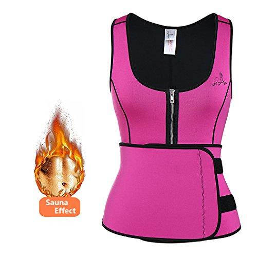 Joyshaper Womens Neoprene Sauna Suit Waist Trainer Vest with Adjustable Shaper Waist Trimmer Belt (Rose Red, XX-Large)