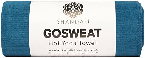 SHANDALI GoSweat Non-Slip Hot Yoga Towel with Super-Absorbent Soft Suede Microfiber in Many Colors, for Bikram Pilates and Yoga Mats.