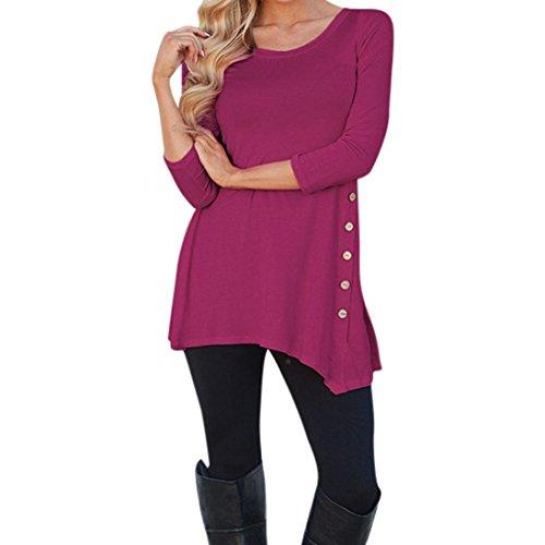 Women Blouse HGWXX7 Long Sleeve Plus Irregular Loose Button Trim Solid Color Round Neck Tunic T-Shirt Blouse Size S~XXXXXXL (S, Hot Pink)