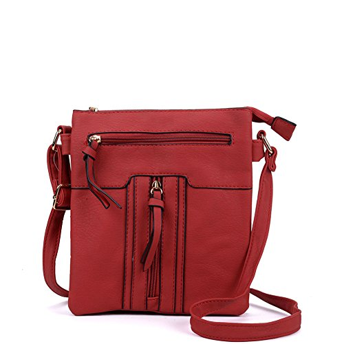 Quality YOUNG High SALLY pockets Women Fashion Leather PU Bag Cross Red Multiple Body zipped 4qaxf
